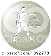 Clipart Of A Round Gradient Libra Horoscope Astrology Icon Royalty Free Vector Illustration by Lal Perera