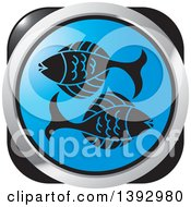 Clipart Of A Black Blue And Silver Pisces Fish Horoscope Astrology Icon Royalty Free Vector Illustration