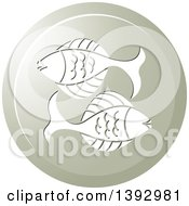 Clipart Of A Round Gradient Pisces Fish Horoscope Astrology Icon Royalty Free Vector Illustration