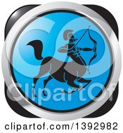 Clipart Of A Black Silver And Blue Sagittarius Centaur Archer Horoscope Astrology Icon Royalty Free Vector Illustration by Lal Perera