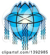 Clipart Of A Blue Vesak Lantern Royalty Free Vector Illustration by Lal Perera