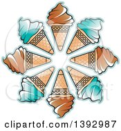 Clipart Of A Circle Of Waffle Ice Cream Cones Royalty Free Vector Illustration by Lal Perera