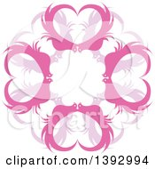 Clipart Of A Circle Of Pink Heart Birds Royalty Free Vector Illustration