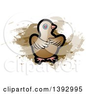 Clipart Of A Dove Over Brown Paint Strokes Royalty Free Vector Illustration by Lal Perera