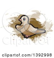 Clipart Of A Dove Over Brown Paint Strokes Royalty Free Vector Illustration