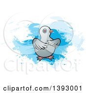 Clipart Of A Dove Over Blue Paint Strokes Royalty Free Vector Illustration