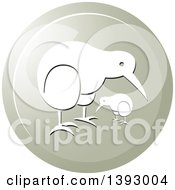Clipart Of A Round Kiwi Bird And Chick Icon Royalty Free Vector Illustration