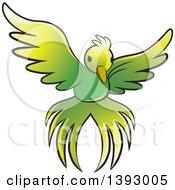Clipart Of A Flying Green Bird Royalty Free Vector Illustration