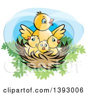 Clipart Of A Nest With A Mother Bird And Yellow Chicks Royalty Free Vector Illustration by Lal Perera