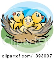 Clipart Of A Nest With Yellow Chicks Royalty Free Vector Illustration by Lal Perera