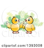 Clipart Of Two Yellow Chicks By A Shrub Royalty Free Vector Illustration by Lal Perera