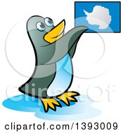 Clipart Of A Penguin Holding Up An Antarctica Map Royalty Free Vector Illustration