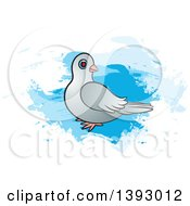 Clipart Of A Dove Over Blue Paint Strokes Royalty Free Vector Illustration by Lal Perera
