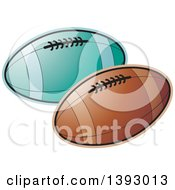 Clipart Of Rugby Footballs Royalty Free Vector Illustration