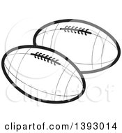 Clipart Of Black And White Rugby Footballs Royalty Free Vector Illustration