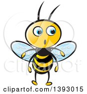 Clipart Of A Surprised Blue Eyed Bee Royalty Free Vector Illustration by Lal Perera