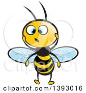 Clipart Of A Surprised Blue Eyed Bee Royalty Free Vector Illustration
