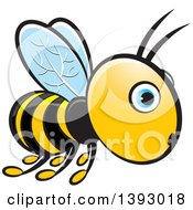 Clipart Of A Surprised Flying Blue Eyed Bee Royalty Free Vector Illustration