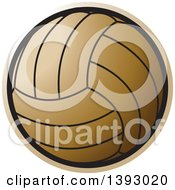 Clipart Of A Golden Netball Or Volleyball Royalty Free Vector Illustration