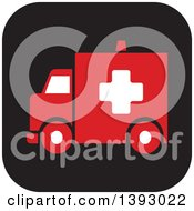Clipart Of A Rounded Corner Square Ambulance Website Icon Button Royalty Free Vector Illustration by Lal Perera