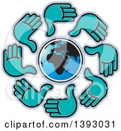 Clipart Of A Cricle Of Turquoise Hands Around Earth Royalty Free Vector Illustration