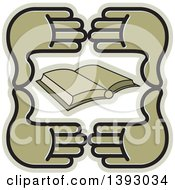 Clipart Of A Group Of Four Hands Around A Book Royalty Free Vector Illustration by Lal Perera