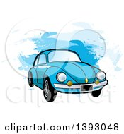 Clipart Of A Blue VW Slug Bug Car Over Blue Paint Strokes Royalty Free Vector Illustration