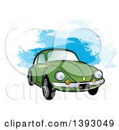 Clipart Of A Green VW Slug Bug Car Over Blue Paint Strokes Royalty Free Vector Illustration