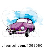 Clipart Of A Purple VW Slug Bug Car Over Blue Paint Strokes Royalty Free Vector Illustration