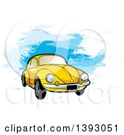 Clipart Of A Yellow VW Slug Bug Car Over Blue Paint Strokes Royalty Free Vector Illustration