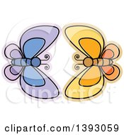 Clipart Of Purple And Orange Butterflies Royalty Free Vector Illustration by Lal Perera