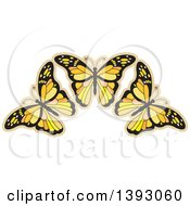 Clipart Of Orange Butterflies Royalty Free Vector Illustration by Lal Perera