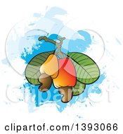 Clipart Of Cashew Fruits Nuts And Leaves Over Paint Strokes Royalty Free Vector Illustration by Lal Perera