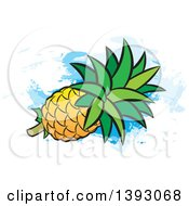 Clipart Of A Pineapple Oer Paint Strokes Royalty Free Vector Illustration