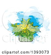 Flowers In A Pot Over Paint Strokes