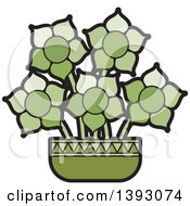 Clipart Of A Green Vase Of Flowers Royalty Free Vector Illustration by Lal Perera