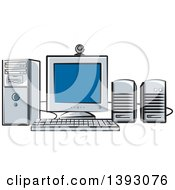 Clipart Of A Desktop Computer Work Station Royalty Free Vector Illustration by Lal Perera