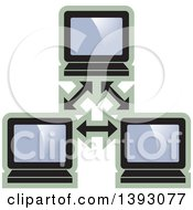 Clipart Of A Computer Network Icon Royalty Free Vector Illustration by Lal Perera