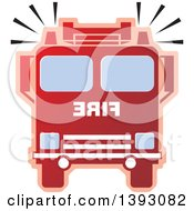 Clipart Of A Red Fire Truck Royalty Free Vector Illustration by Lal Perera
