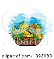 Clipart Of A Basket Of Tropical Fruit Royalty Free Vector Illustration