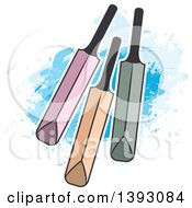 Clipart Of Cricket Bats Over Paint Strokes Royalty Free Vector Illustration