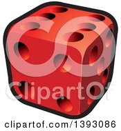 Clipart Of A Red Dice Royalty Free Vector Illustration