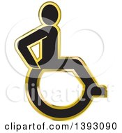 Clipart Of A Gold And Silver Wheelchair Icon Royalty Free Vector Illustration by Lal Perera