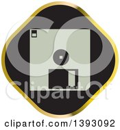 Clipart Of A Black And Gold Floppy Disk Icon Royalty Free Vector Illustration by Lal Perera