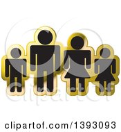 Clipart Of A Black And Gold Family Icon Royalty Free Vector Illustration