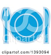 Clipart Of A Blue Table Setting Icon Royalty Free Vector Illustration