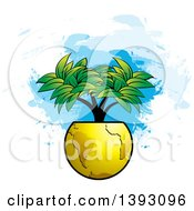 Clipart Of A Tree Growing From A Gold Globe Over Paint Strokes Royalty Free Vector Illustration by Lal Perera