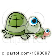 Clipart Of Parent And Baby Turtles Royalty Free Vector Illustration