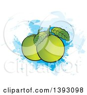 Clipart Of Guava Fruits And Leaves Over Paint Strokes Royalty Free Vector Illustration