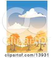 Autumn Trees Under A Blue Cloudy Sky Clipart Illustration